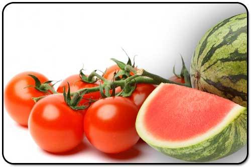 Watermeloen en Tomaat zijn gezond